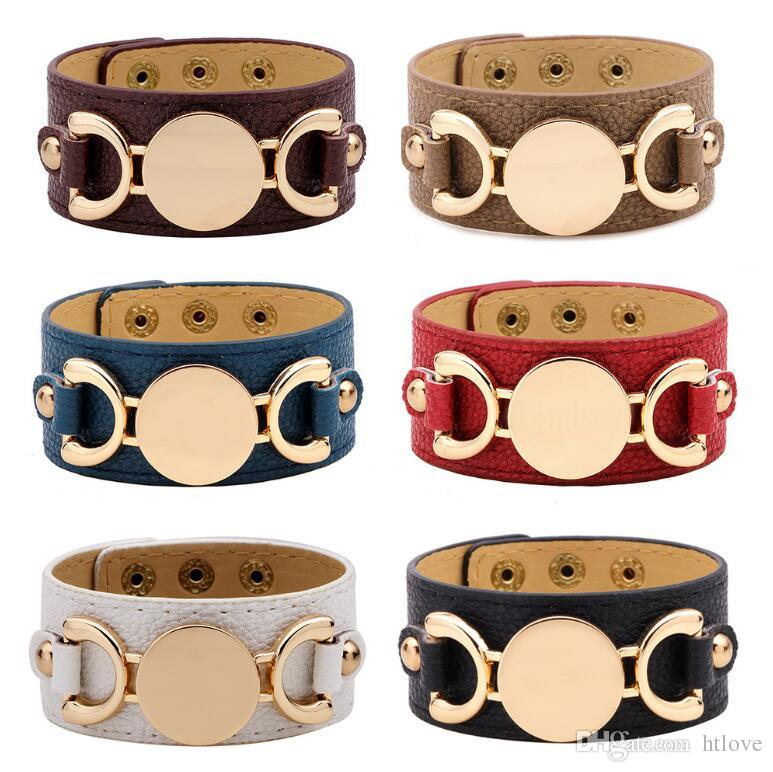 716999321d7 2019 2018 New Style Monogram Leather Cuff Bracelets For Women Pulseras  Blank Gold Plating Leather Bracelet Men Snap Jewelry From Htlove, $1.93 |  DHgate.Com