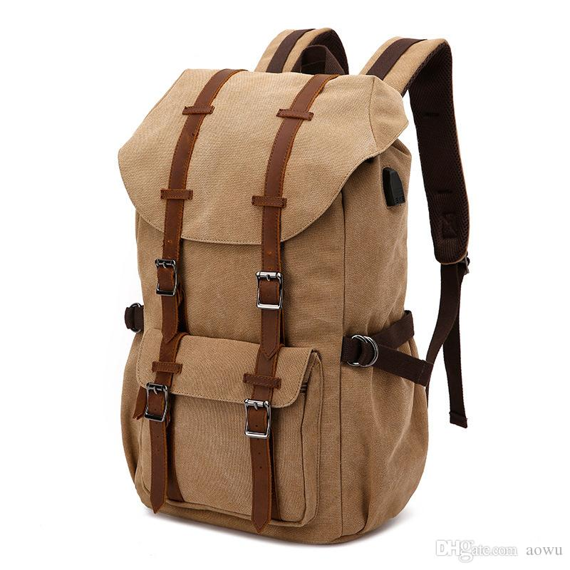 fdcba9e043a 2019 Backpack With USB Charging Port Travel Canvas Backpacks For Men And  Women Laptop Duffel Bag School Bag Daypack For Outdoor Activity From Aowu