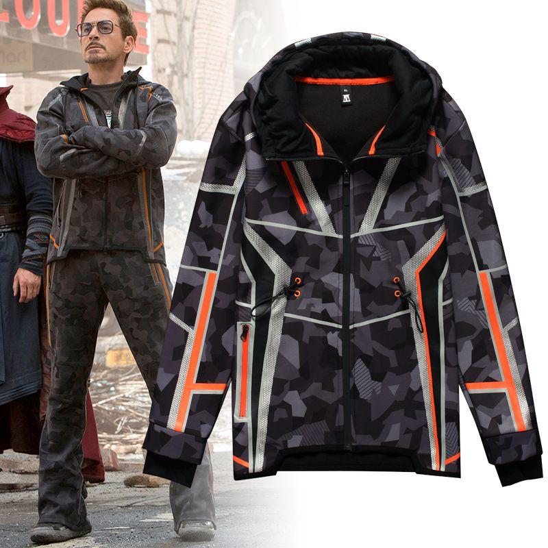 Tony Stark Halloween Costume.Iron Man Costume Cosplay Tony Stark Jackets Warm Thicken Hoodie Full Costumes For Man Woman Halloween Clothing