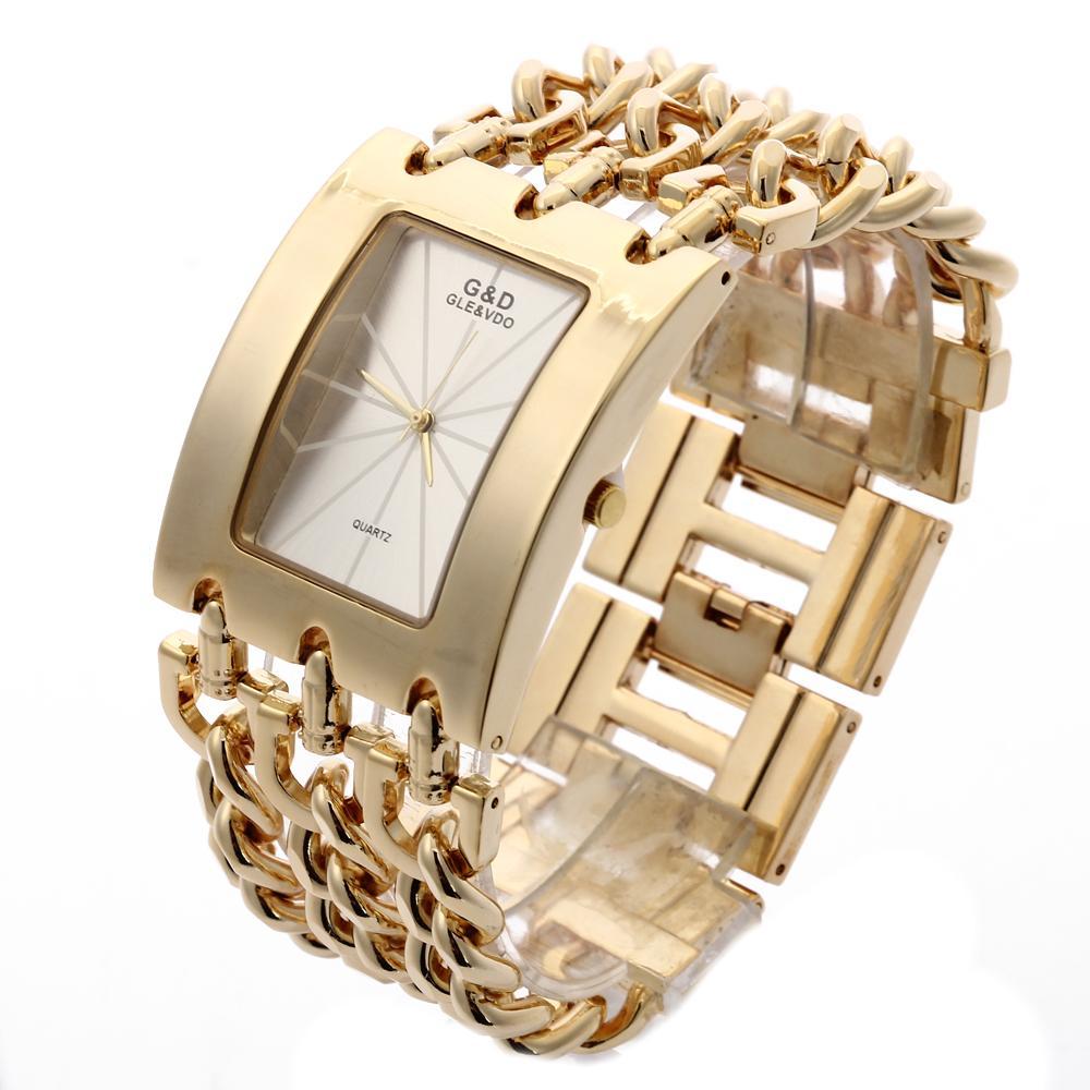 d2455a486f1 Compre GD Luxo Mulheres De Ouro De Quartzo Relógio De Pulso Das Mulheres  Pulseira De Relógio Relogio Feminino Mulheres Vestido Relógio Reloj Mujer  Presentes ...