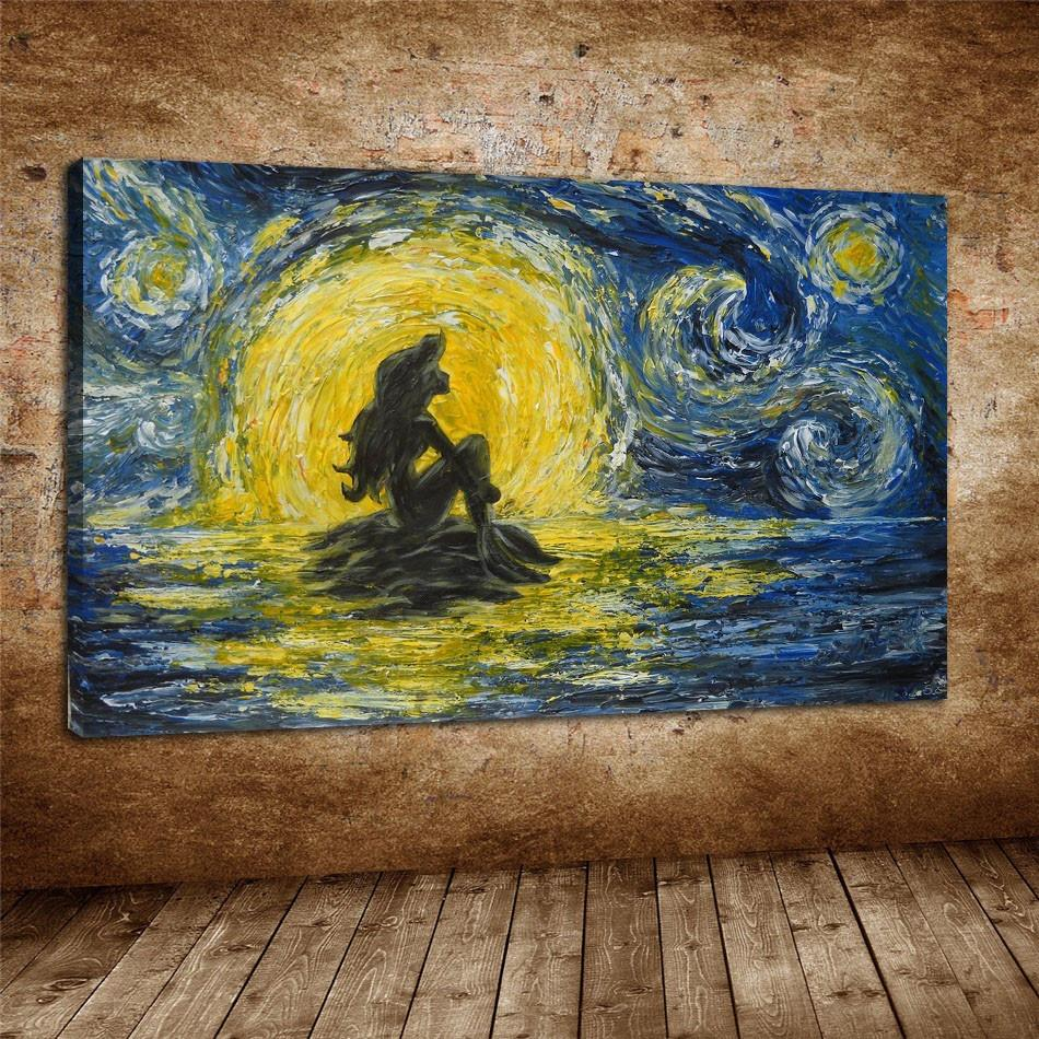 Van Gogh Little Mermaid,1 Pieces Canvas Prints Wall Art Oil Painting Home  Decor (Unframed/Framed)