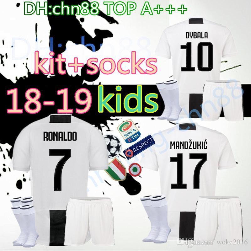 18 19 Kids Juventus RONALDO Soccer Jersey Kits+socks 2018 2019 ... 5c1b578f4