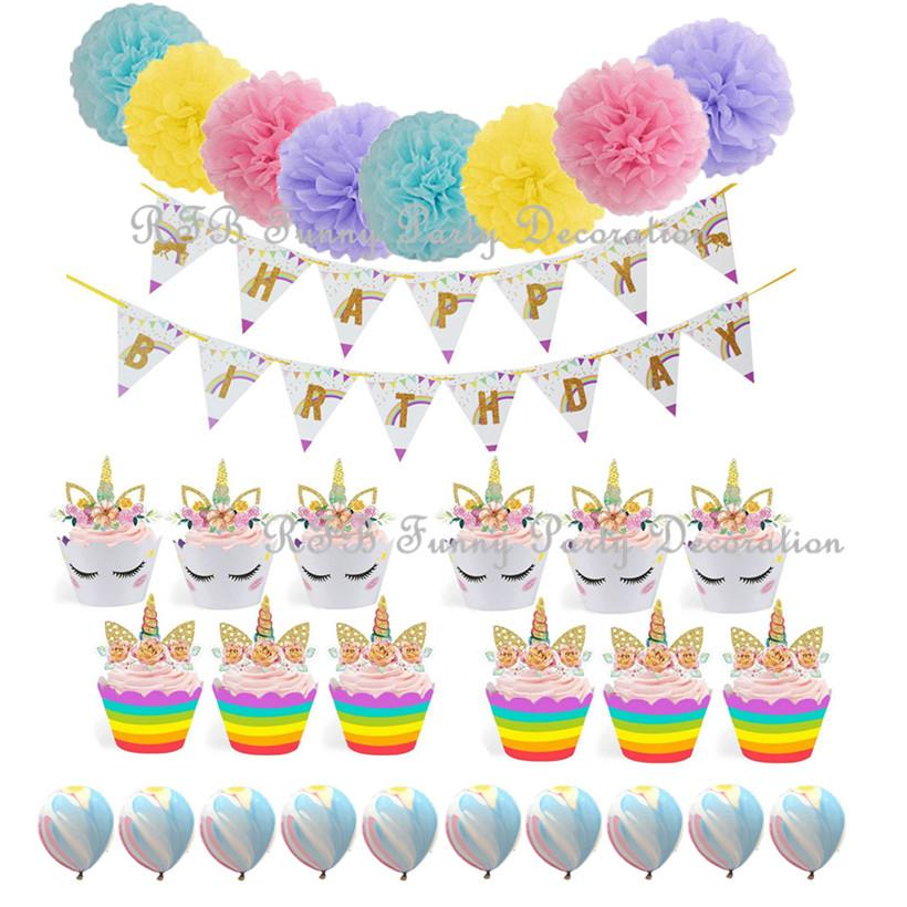 Delivery Moogle Birthday Card Final Fantasy Themed: 2019 Happy Birthday Bunting Banner Unicorn Themed Party