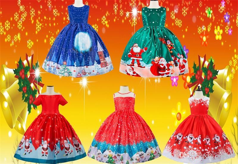 Weihnachtsfeier Cartoon.Weihnachtsfeier Kleider Liefert Weihnachten Cartoon Kleid Santa Snowflake Print Princess Dress Lace Panel Dress V 1