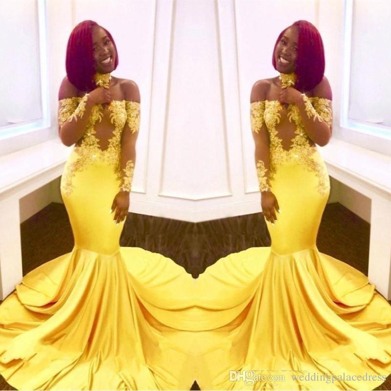Os mais recentes Sexy Yellow Black Girls Mermaid Dresses Prom Lace mangas compridas Backless de cetim até o chão Formal Wear Partido vestidos de noite personalizado