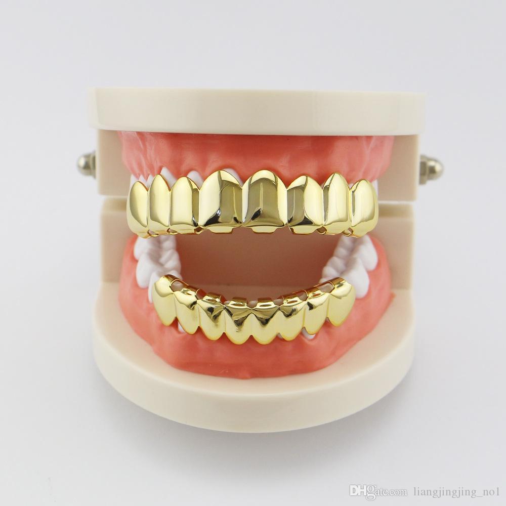 Позолоченные хип-хоп зубы Grillz с верхом нижний гриль набор партии косплей вампир грили наборы OOA4856