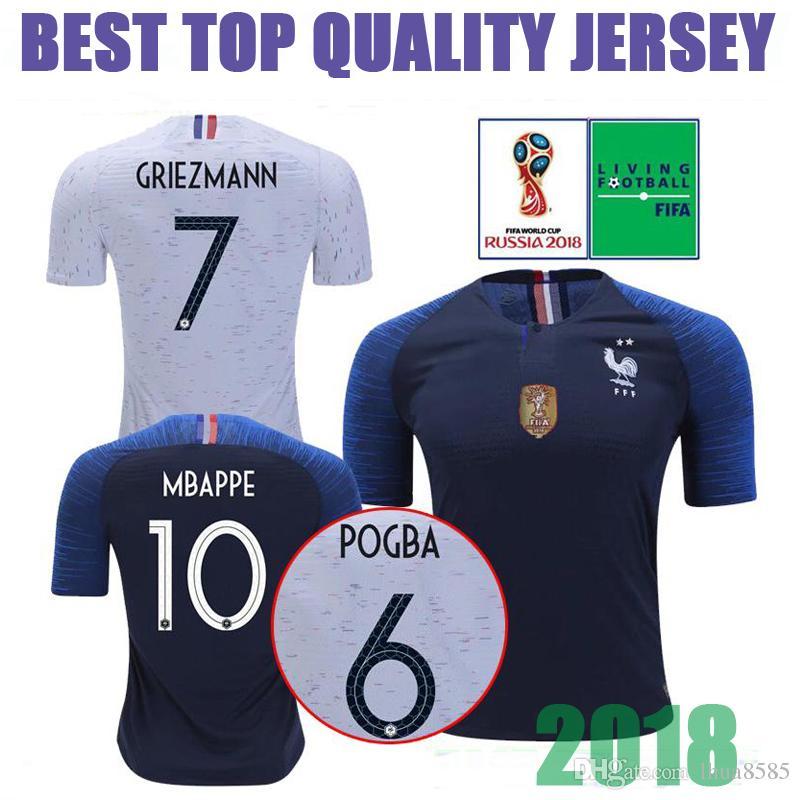 2018 GRIEZMANN MBAPPE POGBA 2 Estrellas Camiseta De Fútbol Francesa KANTE  DEMBELE GIRQVD LEMAR 2018 Campeones De La Copa Mundial 8b210531c299f