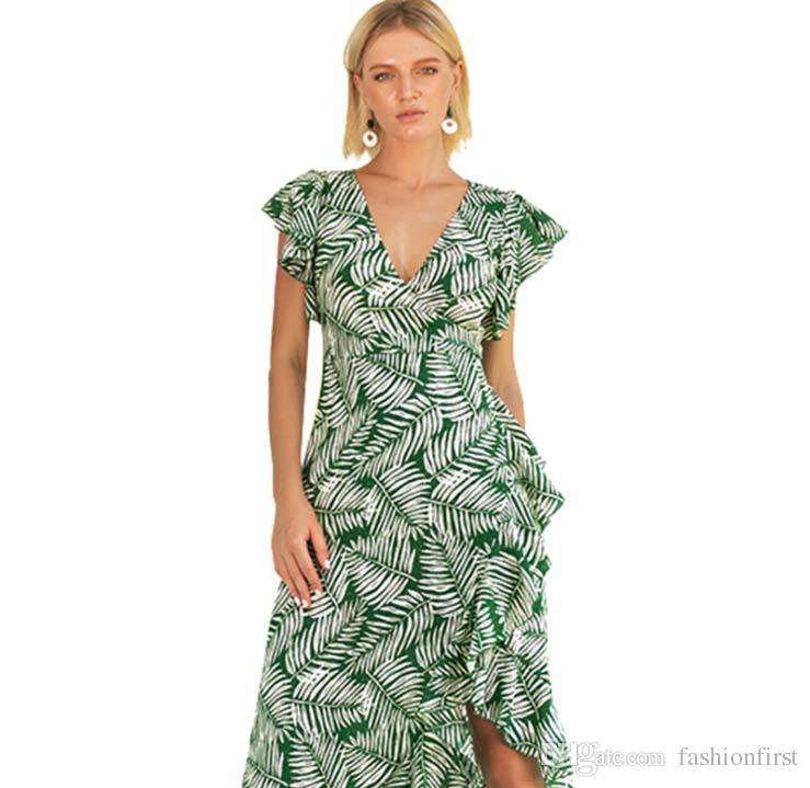477f14b6f8c Compre Mulheres De Alta Qualidade Sexy Ruffled Manga V Frente Ruffled  Vestido De Desgaste Da Praia Boêmio Túnica Gravata Vestido De Verão Folha  Vestido ...