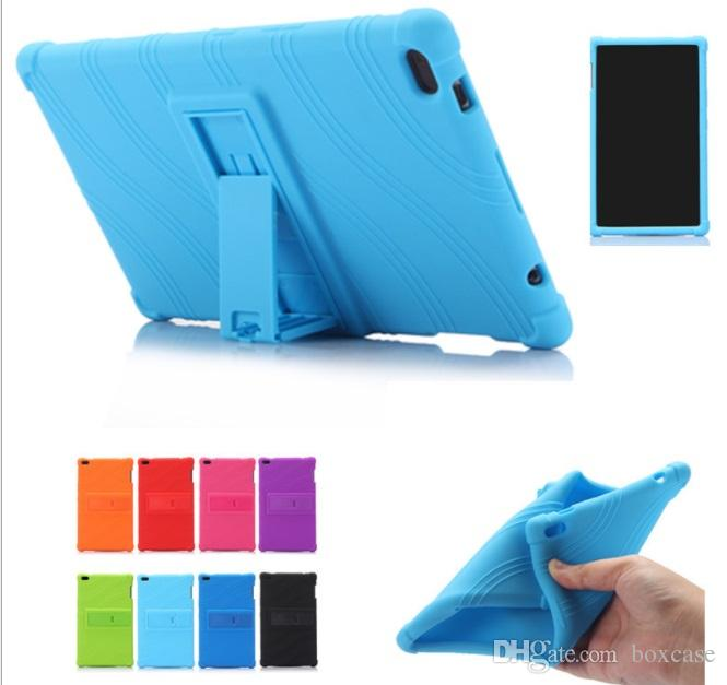 competitive price fd9a0 c6e69 Soft Silicone Rubber Tablet Case for Lenovo Tab 4 8 Plus TB-8704F TB8704N  Back Cover with Stand Gift Stylus Pen