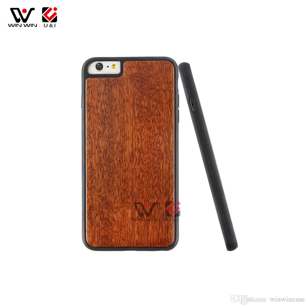 wood hard PC back cover TPU rubber coating cell phone cases for iPhone 7 8plus 7plus 8 6s plus shockproof design
