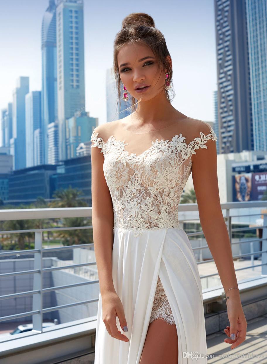 Sexy Spitze Applique Brautkleider 2019 Illusion Verschüttete Kleider Plus Size Cap Sleeves Brautkleid Für Hochzeit