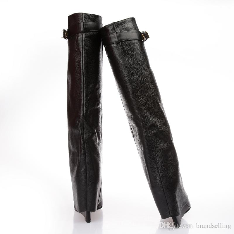 Classic Black Leather Shark Lock Wedge Knee-high Boots Turned-over Edge Motorcycle Boots High Quality Strap Belts Winter Long Botos Woman