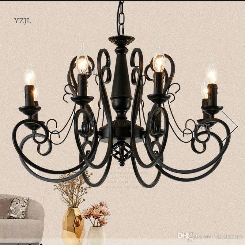 Chandelier lighting Restaurant minimalist living room bedroom creative American European retro chandelier iron candle lighting