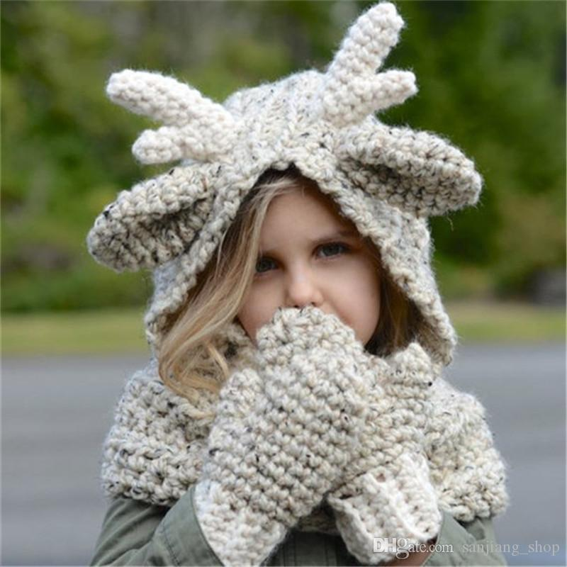 Kids Knitted Winter Elk Hat Scarf Gloves Set Knitting Baby Boy Girls