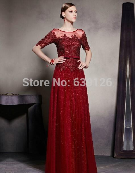 Long Prom Dresses Half Sleeves Burgundy Tulle Sequins Floor Length Lace Plus Size Evening Dres Party Wear 2018
