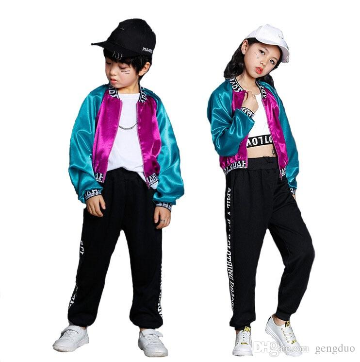 583f83ccc5c1 2019 Boys Girls Hip Hop Jazz Performance Clothes Suits Kids Multicolor  Jacket Top Pant Set Children Girls Stage Costume Dance Wear From Gengduo,  ...