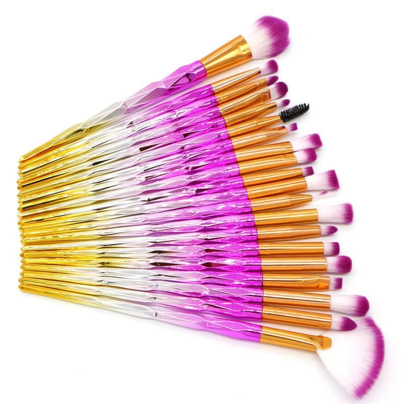Eyes Makeup Brushes Set Rainbow Diamond makeup brush for Eyeshadow Eyebrow Eyeliner brush fan shape foundation powder brush