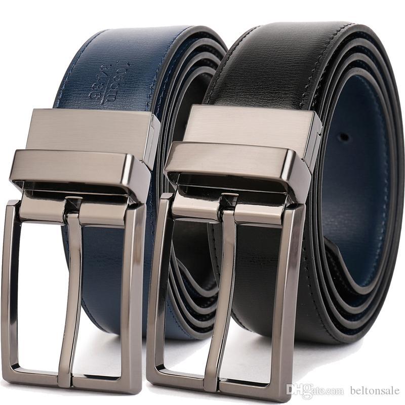 Azules Reversible Por Negros Al De Para Diseños Moda Con Hebilla Cuero Cinturón Hombres Cinturones Ceinture Giratoria Clásicos c35ARL4Sjq