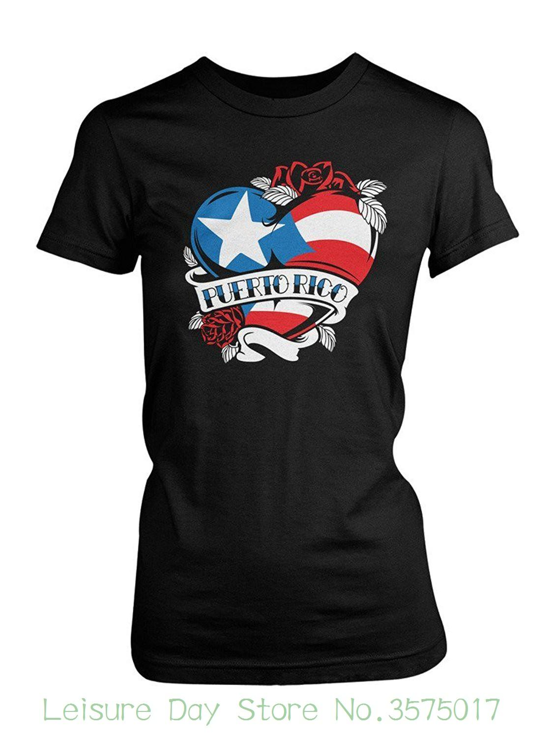 2605fc5b O-neck Fashion Casual High Quality Print T Shirt Women's Puerto Rico Tattoo  Heart Flag T-shirt