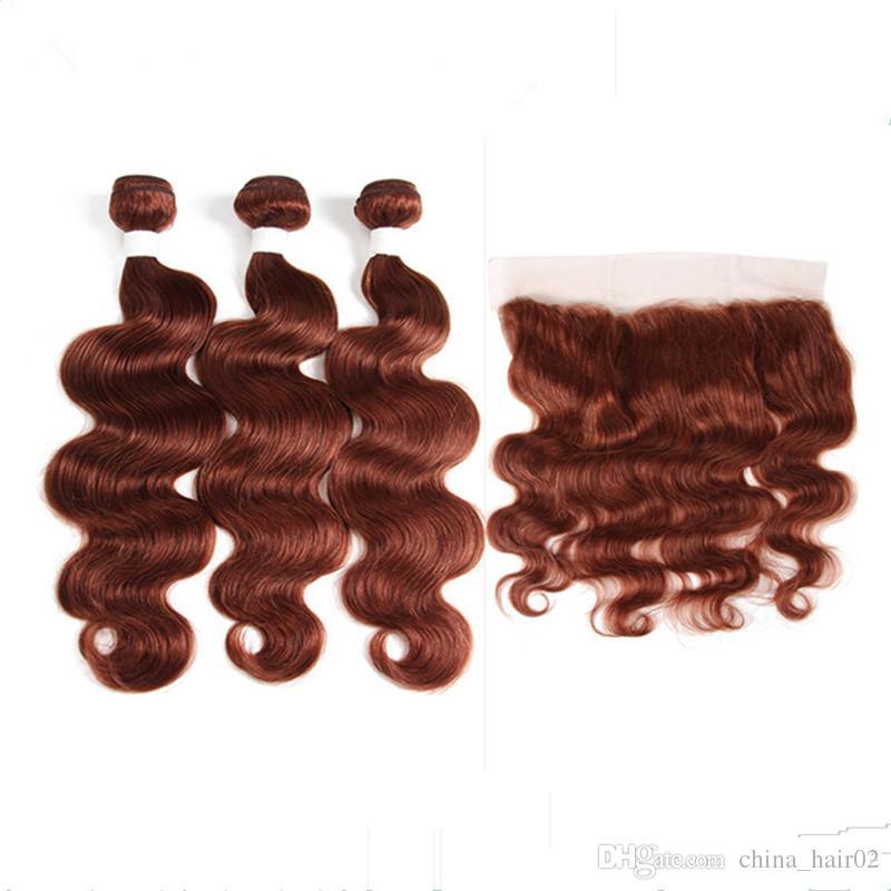 Медные красные девственные бразильские пучки человеческих волос с лобной объемной волной # 33 Dark Auburn 13x4 полная кружевная фронтальная застежка с пучками плетения