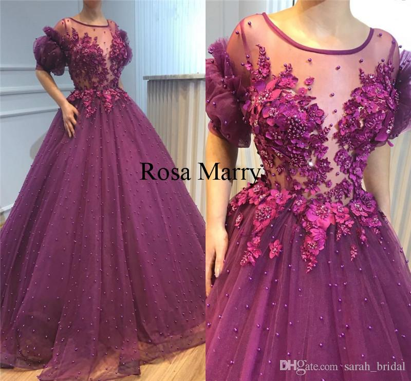 Compre Vestidos De Baile De Lujo De Las Perlas Púrpuras Del Desfile ...