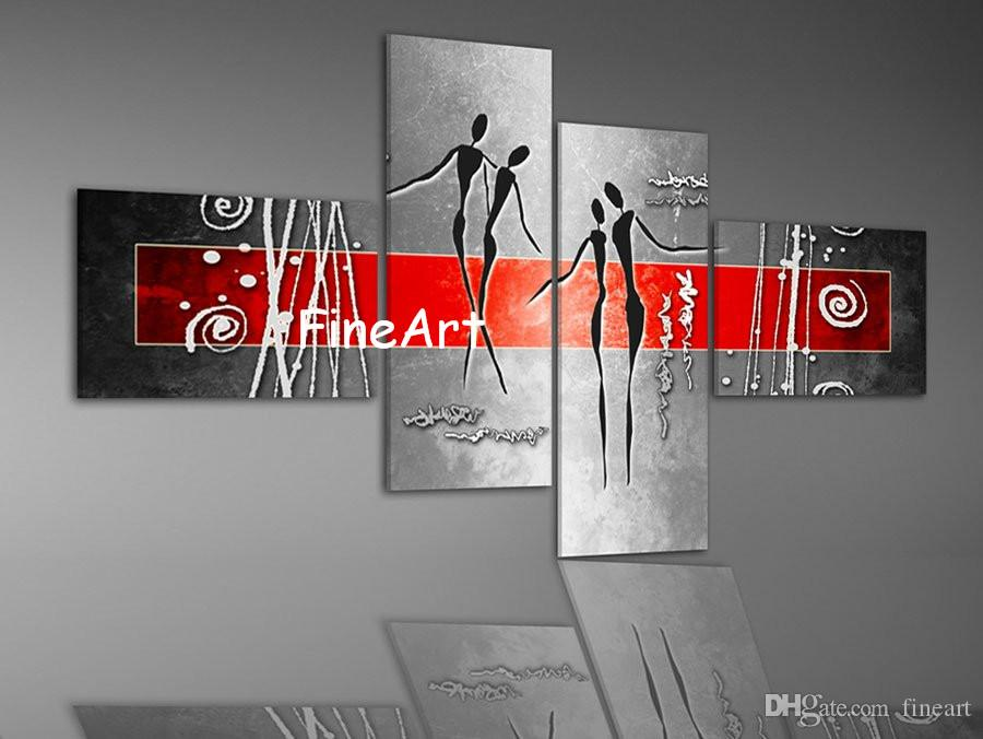 Hand Painted Oil Wall Red Black White Acrylic Painting 4 Panels Discount Wall Painting Ideas Home Fine Art Paintings Decoration Home