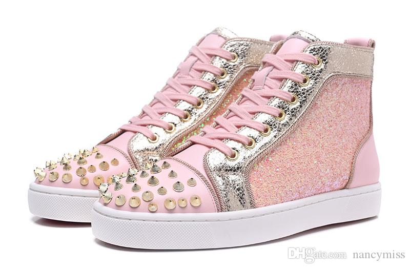 963a922d4b0f 2019 Designer High Top Pink Glitter Sequins With Spikes Red Bottom Sneakers  For Mens Womens, Luxury Lovers Brand Dress Shoes Street Trainers Tennis  Shoes ...