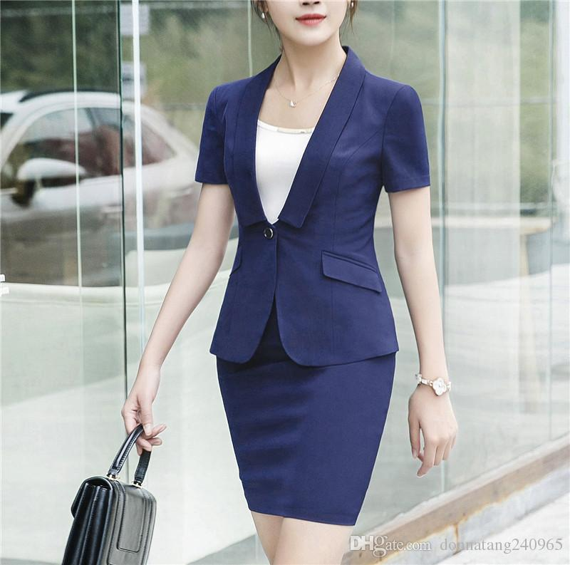 9a50e7612d9 2019 Women Short Sleeve Blazer Set Two Pieces Suits Summer Ladies Formal  Skirt Suit Office Uniform Style Female Business Jackets Suit For Work From  ...