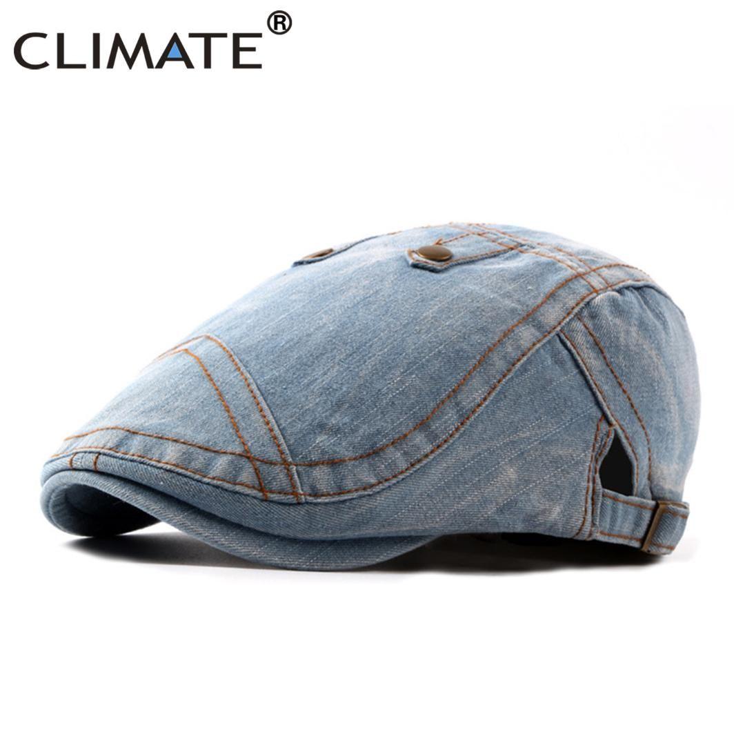 249c55e052d 2019 CLIMATE Men Denim Berets Flat Caps Dad Hat Men New Hat Cap Cowboy  Cloth Jean Adult Jeans Adjustable Navy Denim Flat Caps From Heheda1