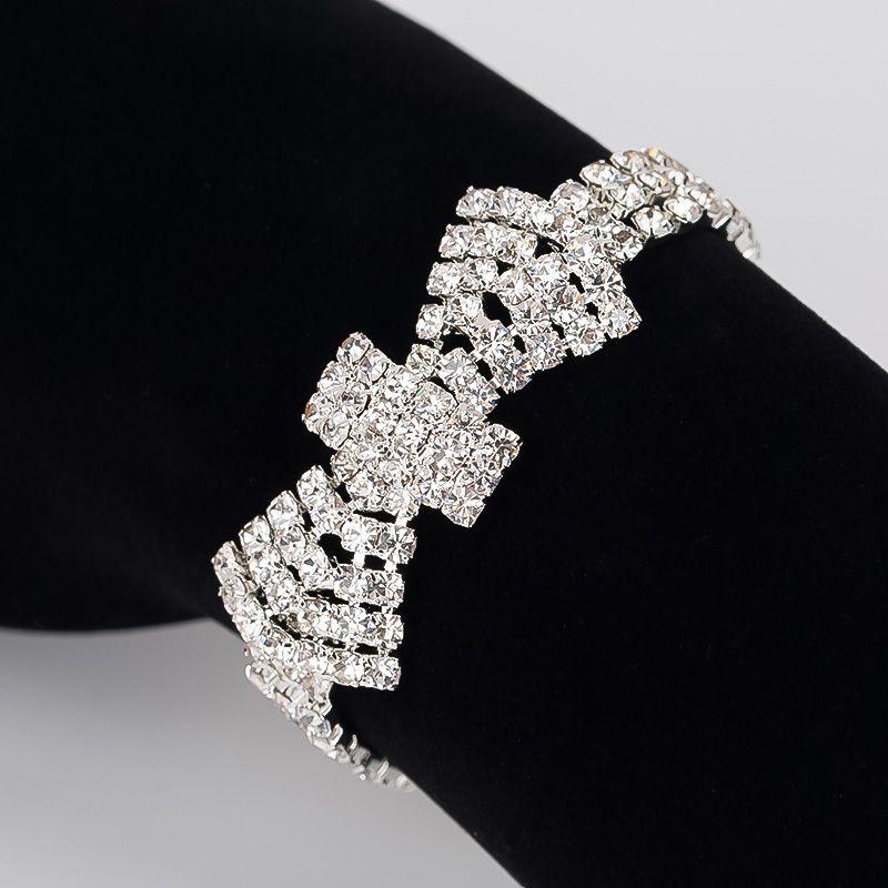 Fashion Crystal Bridal Bracelets For Women Rhinestone African Bridesmaid Pulseira Wedding Prom Jewelry Christmas Gift B176