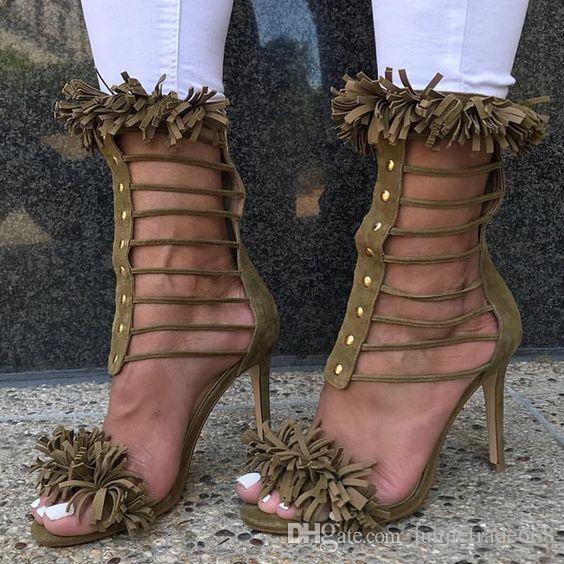 2018 haute qualité nouvelle liste goujons en métal en cuir véritable glands toe talons avec des chaussures pointues croisées fines talons hauts sexy femmes sandales