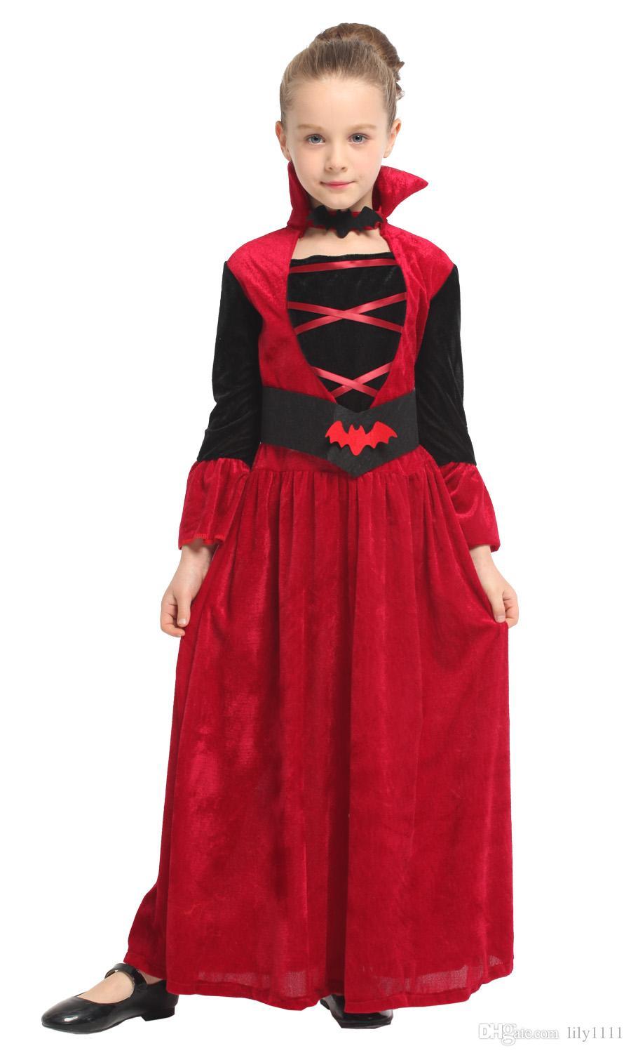 Halloween Vampire Costume Kids.Shanghai Story Girls Halloween Vampire Costumes For Kids Children Queen Cosplays Carnival Purim Parade Masquerade Party Dress