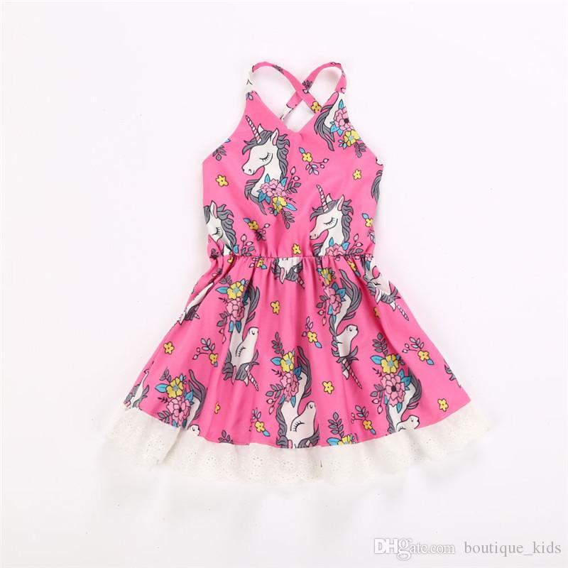 030421d3c4 2019 Unicorn Dress For Baby Girls Summer Infant Toddler Girl Princess Dress  Floral Pageant Backless Beach Dresses Sundress Boutique Kids Clothing From  ...