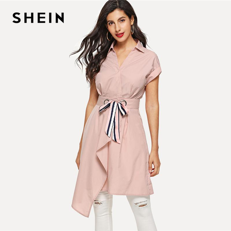 SHEIN Pink Preppy Elegant Asymmetric Wrap Belted Roll Up Sleeve V Neck  Stand Collar High Waist Dress Summer Women Casual Dresses