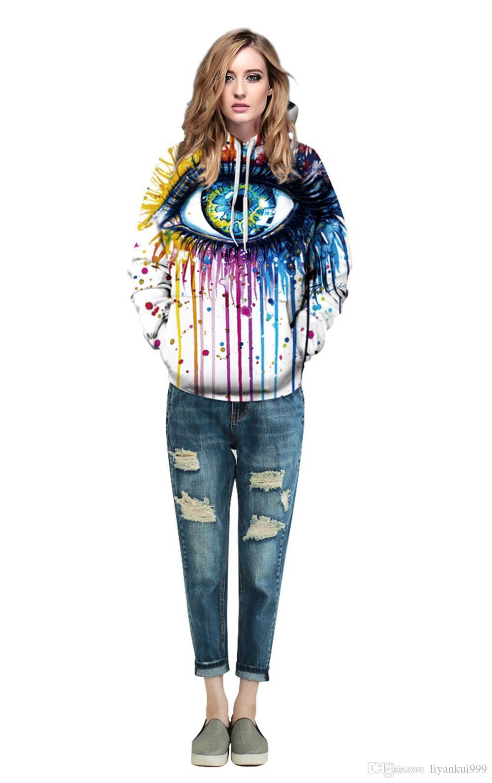 2017 sonbahar ve kış yeni Stil Renkli Göz Doodle Unisex Gerçekçi 3d Dijital Kazak Sıcak Satış Kazak Hoodie Kapşonlu Kazak
