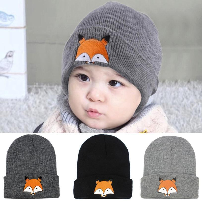 9e43794a1 Fashion Baby Children Cap Fox Warm Winter Hats Knitted Wool Hemming  2017Spring New Unisex Baby Boy Girl Kids Toddler Infant