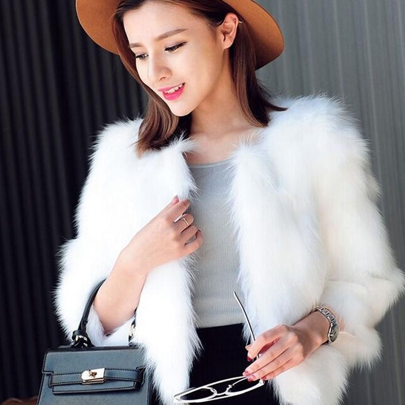 49f1da4d99 Cappotto di pelliccia peloso Inverno Donna Fluffy Fox Faux Fur Jacket Nero  Bianco Cappotto Manica lunga Slim Baggy Outwear Manteau Fourrure