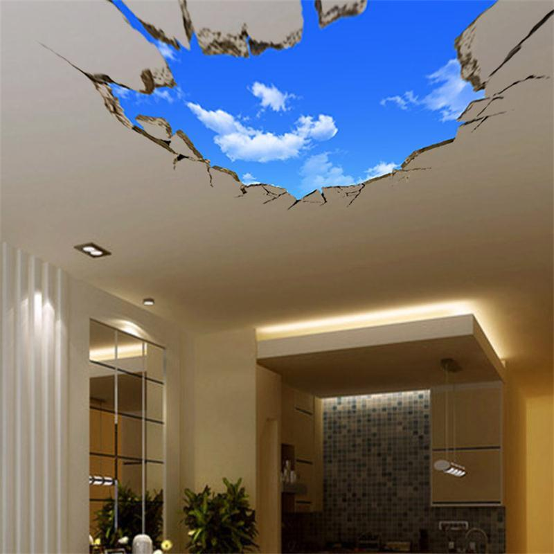 3d blue sky white clouds wall sticker for kids baby room ceiling