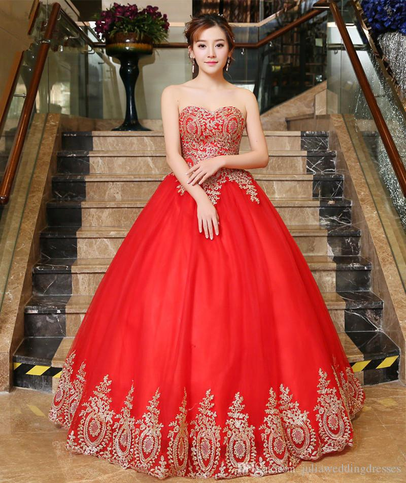 2017 New Appliques Lace Red Ball Gown Wedding Dresses With Lace Up Tulle Plus Size Bridal Gowns Vestido De Novia BW10