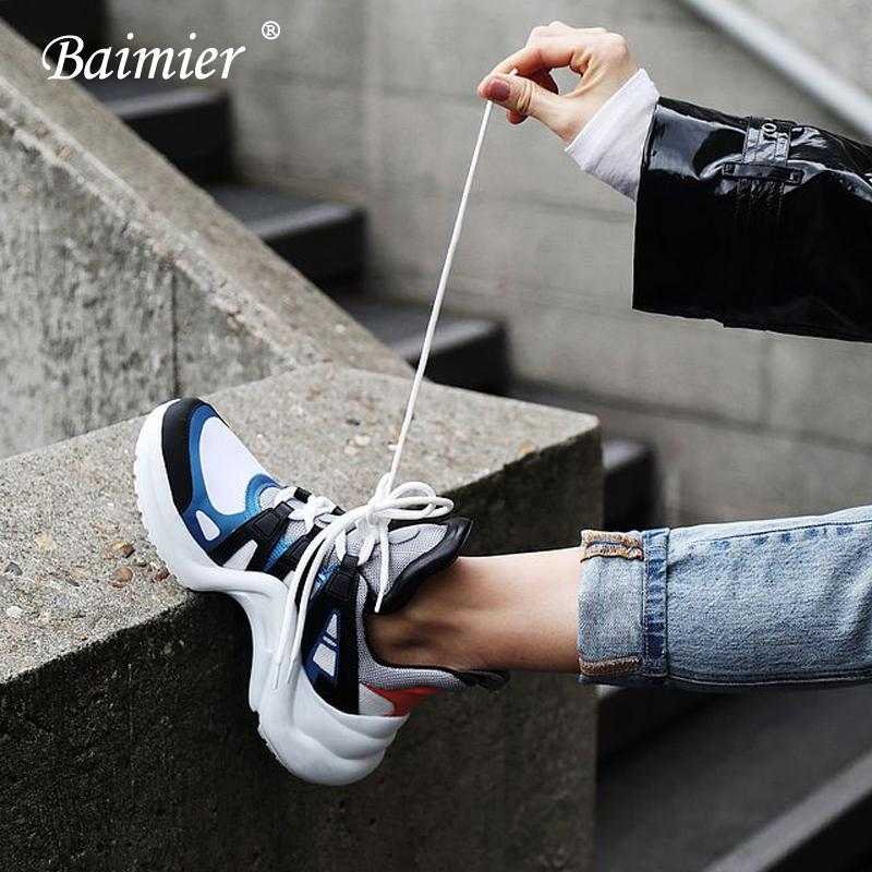 2019 Baimier Luxury Brand Women Sneakers Mixed Color Lace Up Women