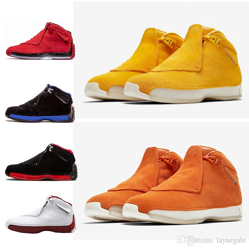 aa20a165a680 Newest Blue Yellow Orange Suede 18s Basketball Shoes Defining Moments Mens  Toro Red Black Royal 18 XVIII Cool Grey Sports Sneakers 41 47 Shoes Brands  ...