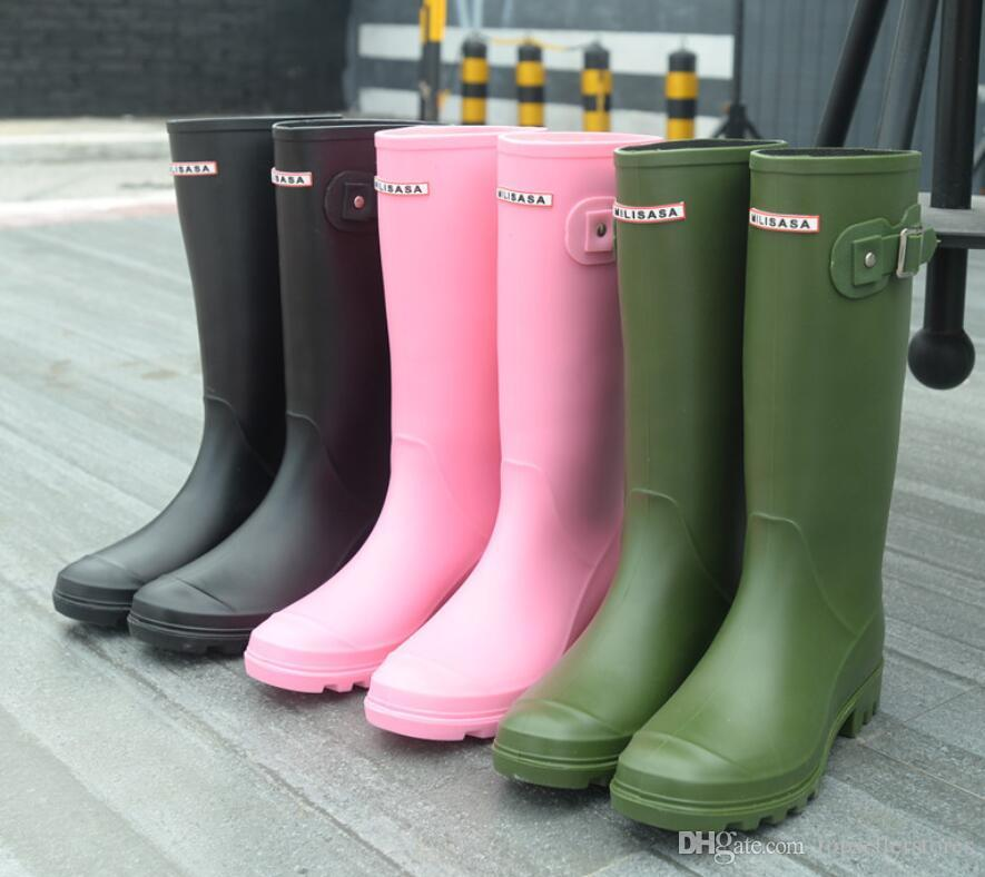 dfa9f9e52771 Fashion Women Rainboots Knee High Tall Rain Boots England Style Waterproof  Welly Brand Boots Rubber Rainboots Water Shoes Rainshoes H 881 Footwear  Fringe ...