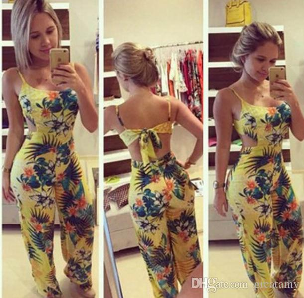Women'S Jumpsuits Yellow Printed Casual Spaghetti Strap Loose Jumpsuits  Long Length Flower Pattern Jumpsuits Rompers Siamese Pants Family Set  Clothes Family ...