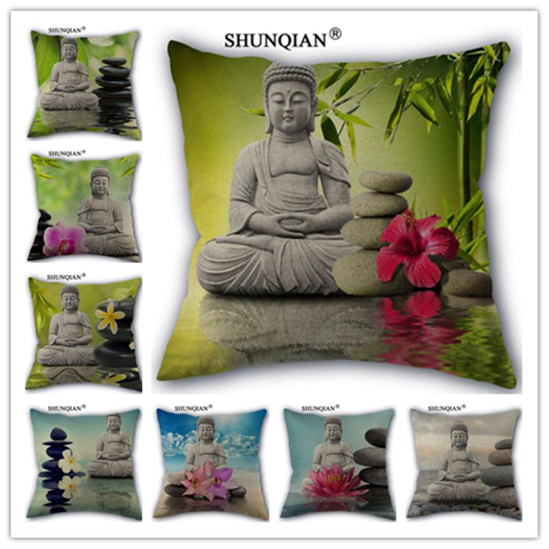 Wjy40 Hot Sale Zen Buddha Stone Cotton Linen Pillow Case For Simple 36 Inch Square Pillow Cover