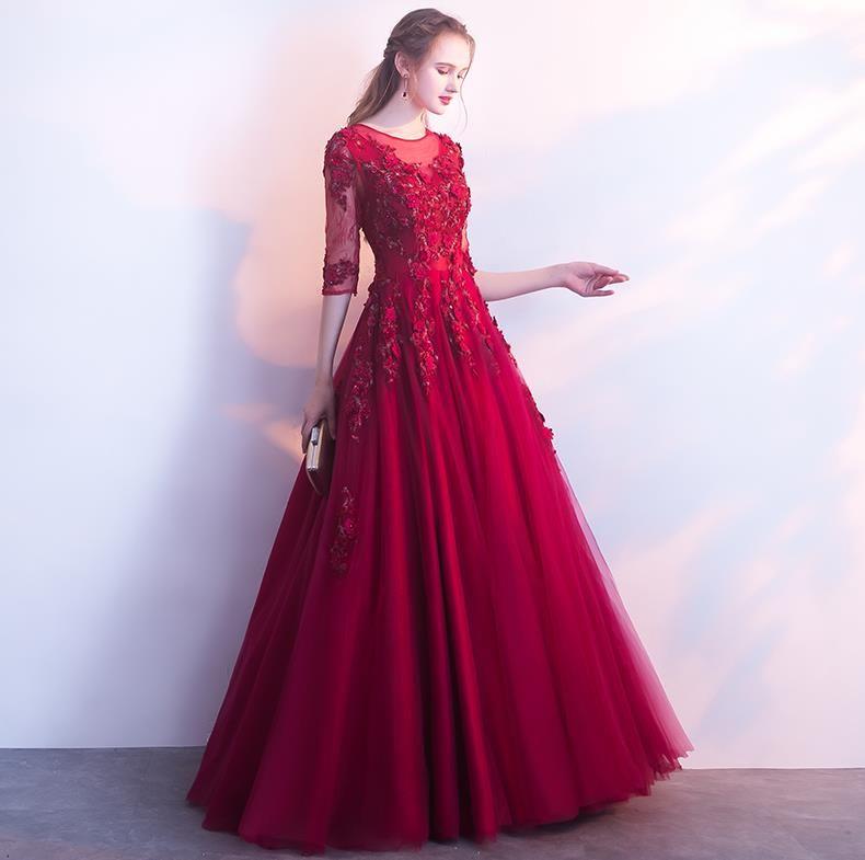 37578eb5a Compre 2018 Vestidos De Noche Largos Vino Rojo Elegante Vestido De Fiesta  Apliques De Encaje Rebordear Vestido De Partido Formal De Una Línea Sexy  Ojo De La ...