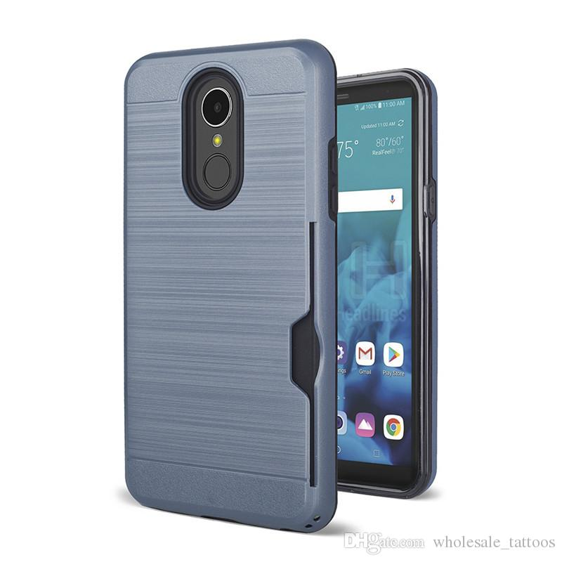 sports shoes 5a1ec dc276 Card Holder Cover Case For LG Aristo 2 Plus Rebel 3 Risio 3 Zone 4 ZTE  Cheers Z851 Maven 3 Z835 Avid Plus Z828 Maven 2 Z831 Metal Brushed