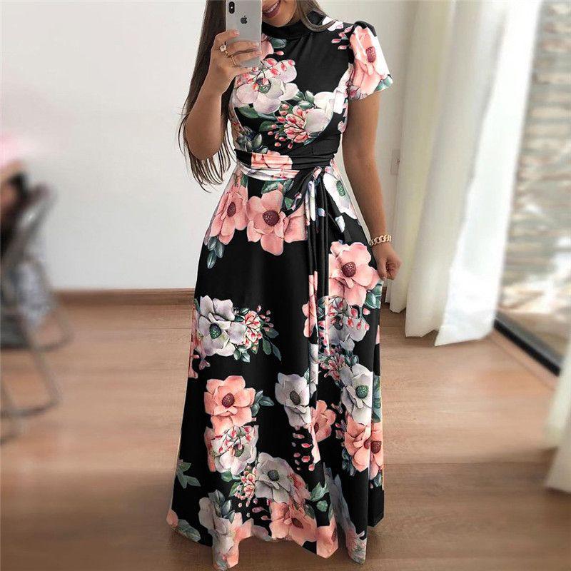 89b09fdf975a Women Summer Dress 2018 Casual Short Sleeve Long Dress Boho Floral Print  Maxi Dress Turtleneck Bandage Elegant Dresses Vestido Knee Length Dresses  Vintage ...