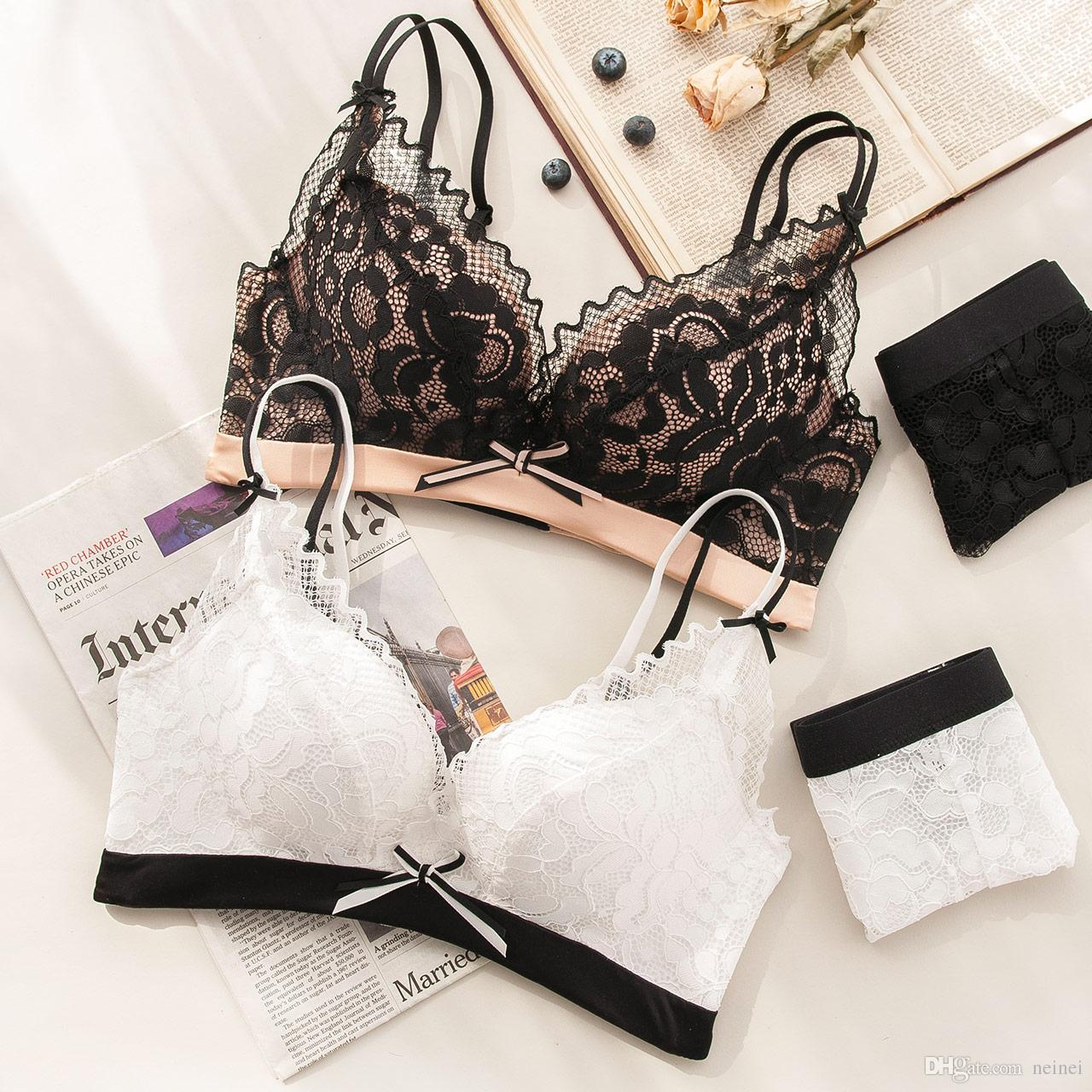 6d7bdd46943 2019 Simple And Comfortable Sexy Lace Bra Set No Steel Ring Gather ...