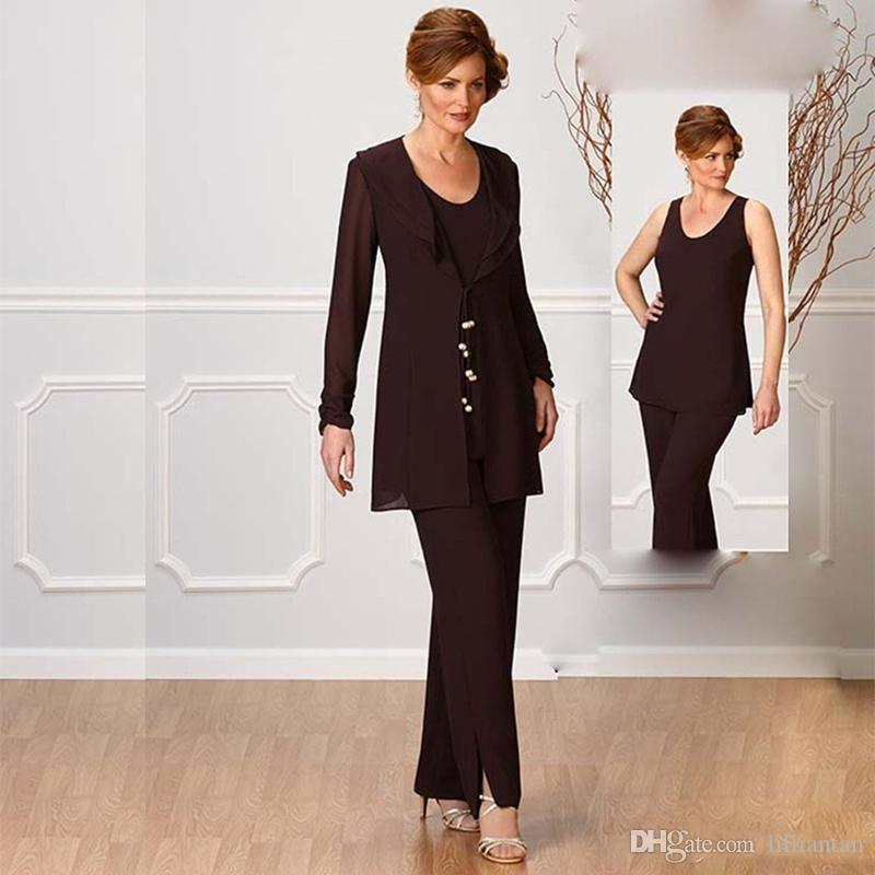 Glamorous Brown Chiffon Pants Suit For Wedding Mother Of The Bride ...