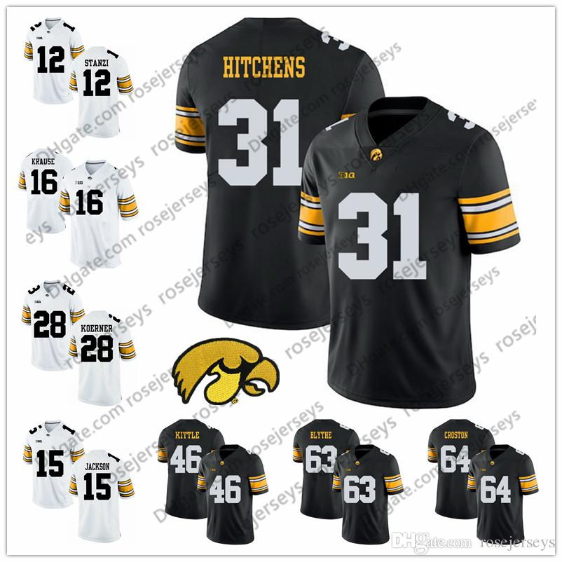 NCAA Iowa Hawkeyes  31 Anthony Hitchens 46 George Kittle 63 Austin Blythe  64 Cole Croston Black White Stitched College Football Jersey S 3XL UK 2019  From ... c7296cfff